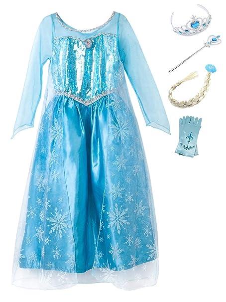 YOSICIL Princesa Disfraz Vestido de Princesa Elsa Princesa Disfraz Accesorios Traje Parte Niñas Princesa Cosplay para Regalo Halloween Carnaval ...