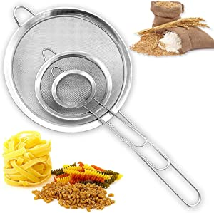 Set of 3 Fine Mesh Strainers,Food Colander Sieve,Stainless Steel Stainer with Long Handle for Juice Egg Tea Coffee,(2.7