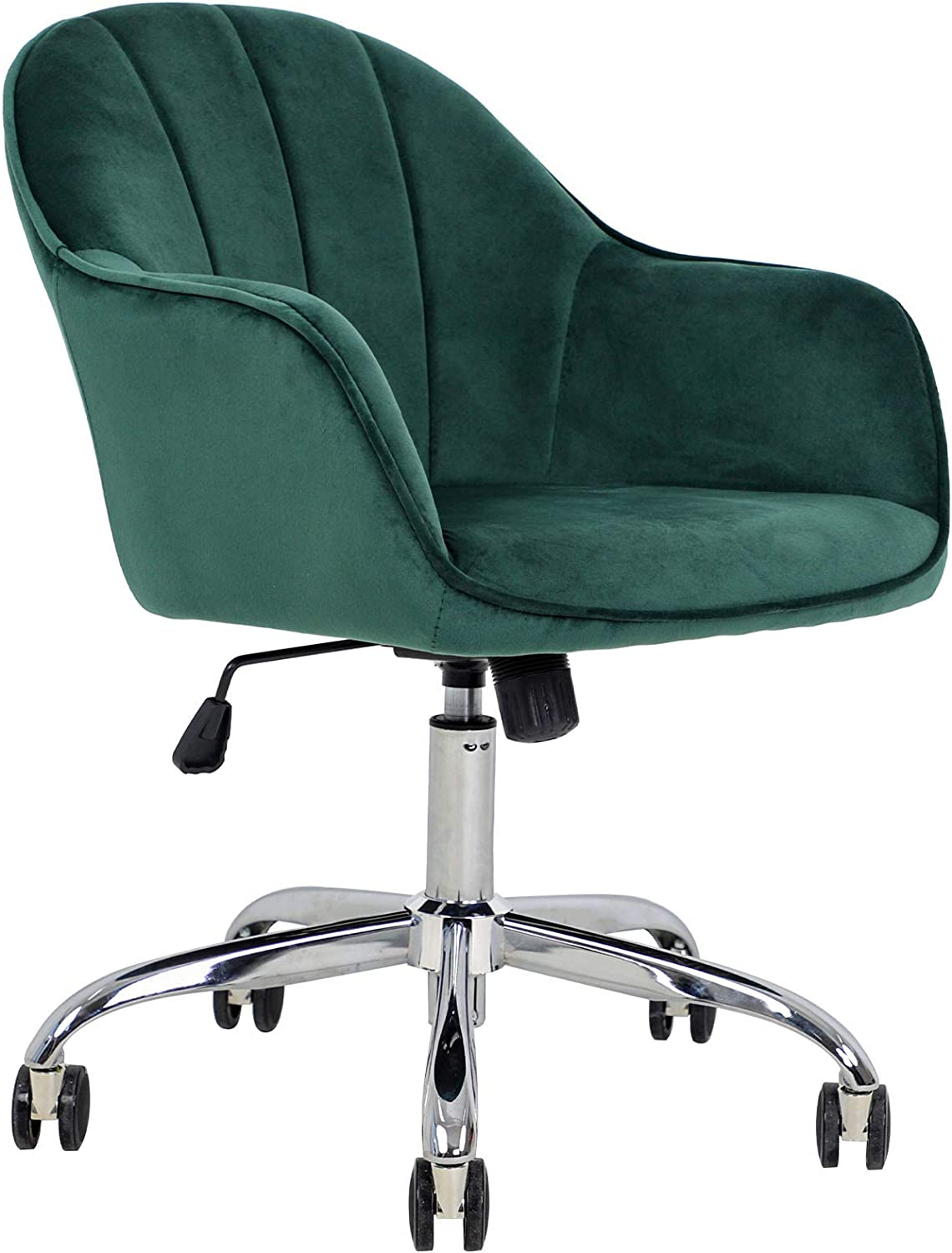 J&L Furniture Modern Design Velvet Desk Chair Mid-Back Home Office Chair Swivel Adjustable Task Chair Executive Accent Chair with Soft Seat (Green)