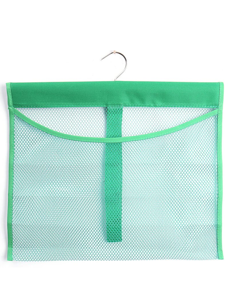 ALYER Hanging Mesh Shower Pockets for 34oz/1000ml Shampoo and Conditioner,Colorful Bath Toy organizer,Hanging Tandem Type Closet Accessories Storage,Green