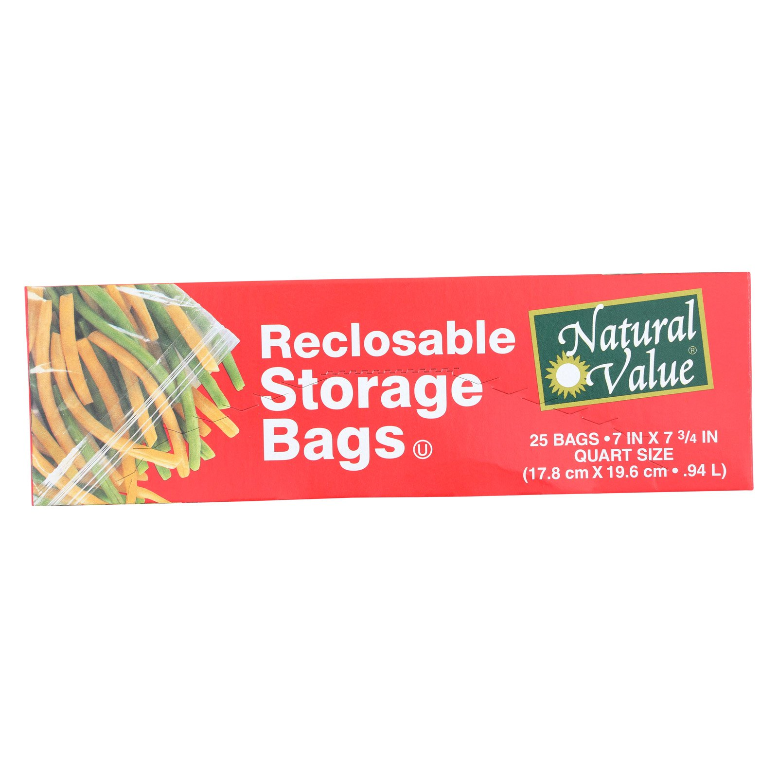 Natural Value Reclosable Storage Bags - Case of 12-25 Count
