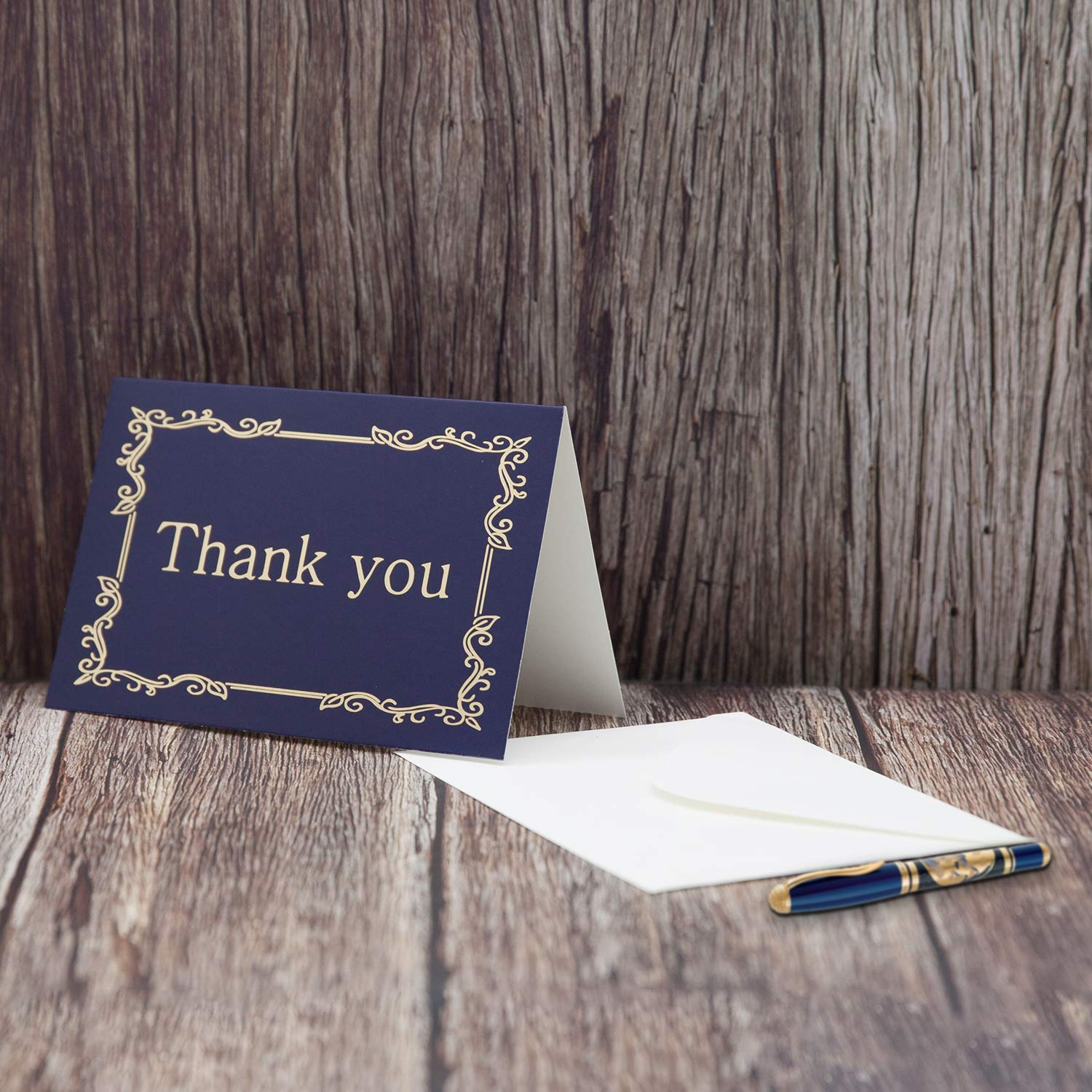 Party Favors Baby Shower Graduation Greeting Cards Birthday Business Funeral 4x6 inch VONDERSO Thank You Cards Notes in 9 Designs Blank Inside with Envelops for Wedding Navy-Blue, 60PCS
