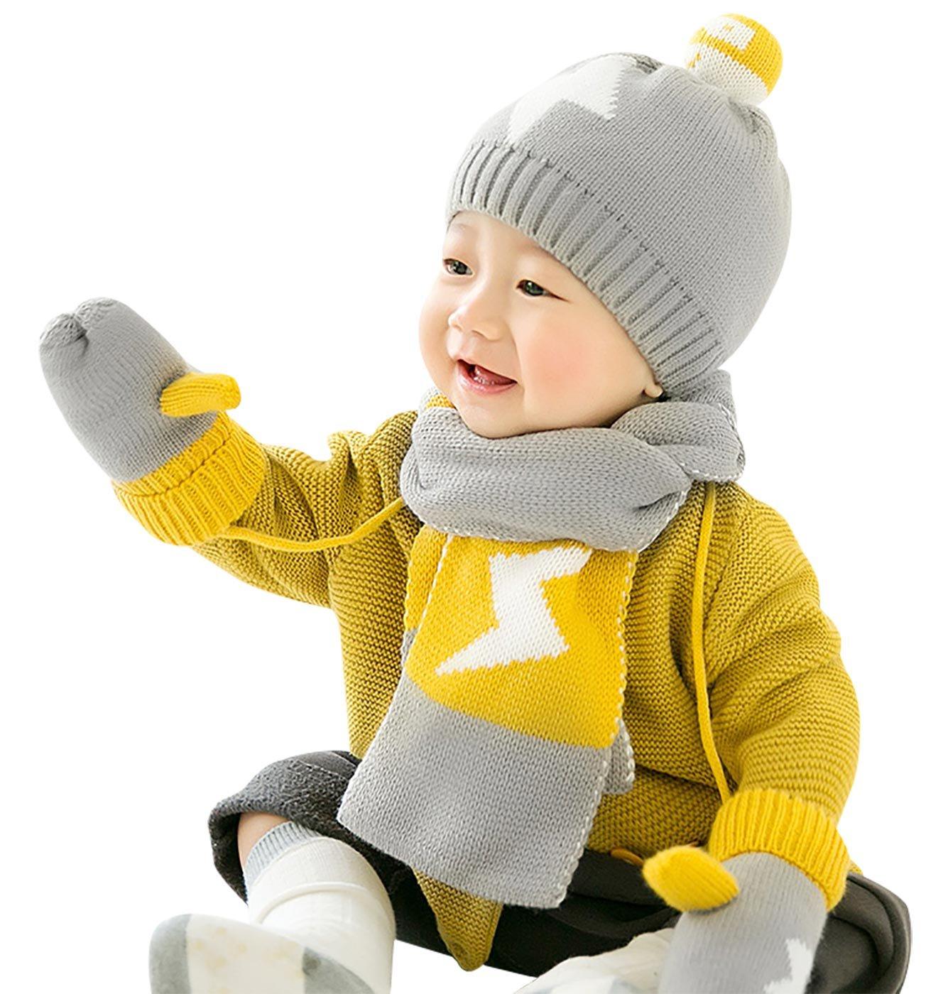 684104604 GONGZHUMAMA - Baby Set de 3 Gorro de Punto Resistente al Viento Elástico  para Bebé Niños