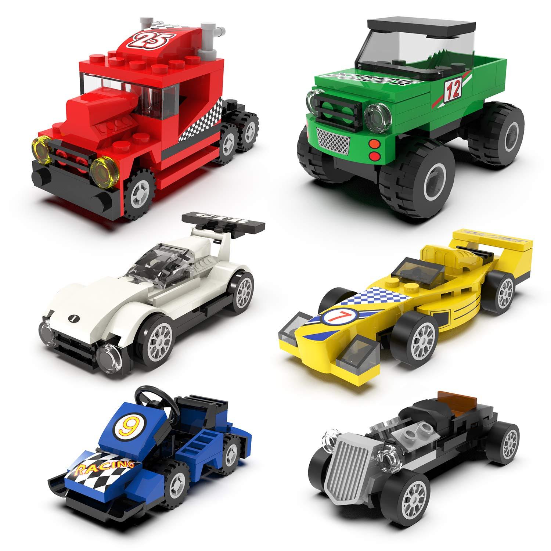 212 PCs Building Blocks Car Toys, Set of 6 Race Car Building Kits for Kids Prizes Toys, Goodie Bag Stuffers, Easter Party Favors