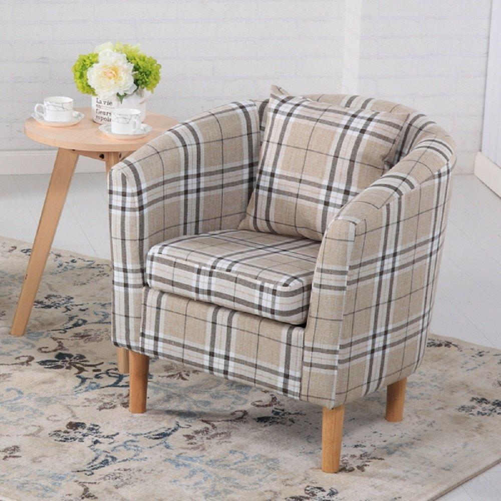 Edinburgh Tartan Fabric Tub Chair Armchair Dining Living Room Office Reception Cream The Home Garden Store