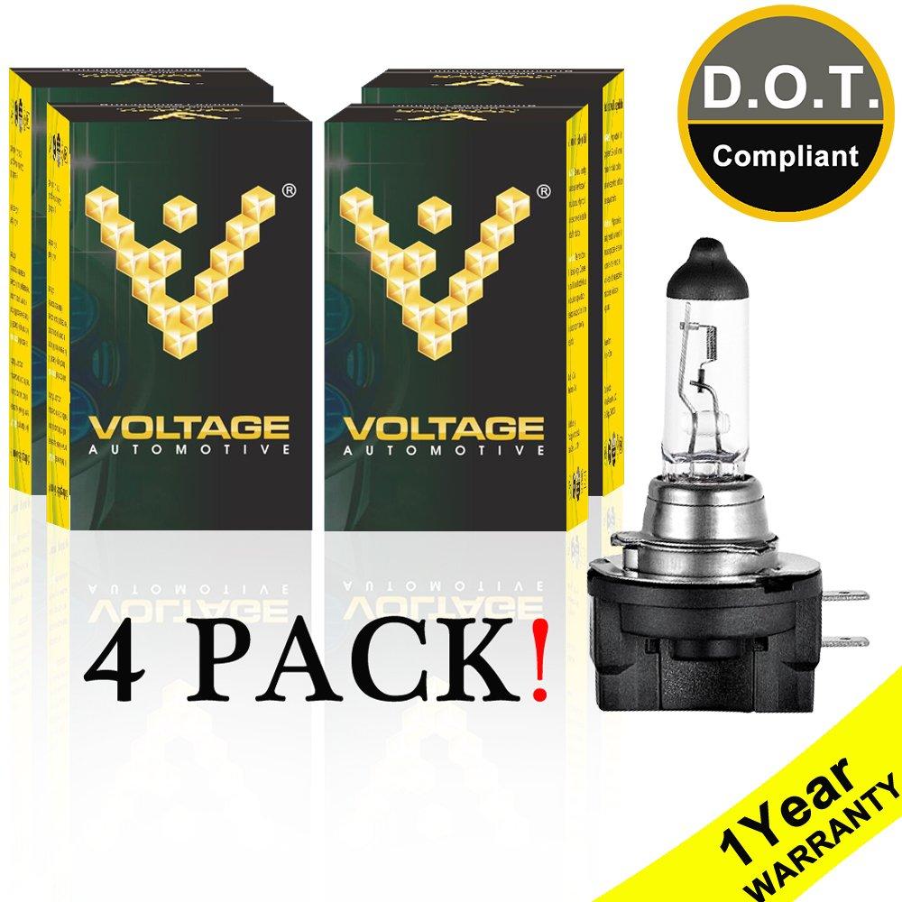 Voltage Automotive H11B Standard Headlight Bulb (4 Pack) - OEM Replacement Halogen High Beam Low Beam Fog Lights Driving Lights