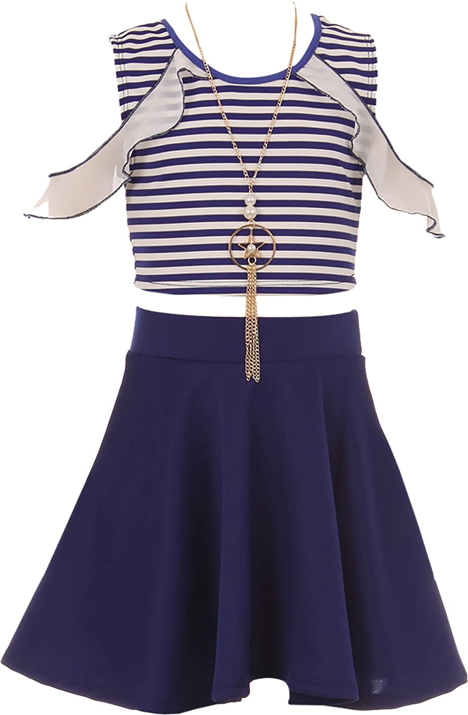 BNY Corner Stripe Top Solid Bottom Easter Summer Skirt Clothing Kid Set 4-14 USA