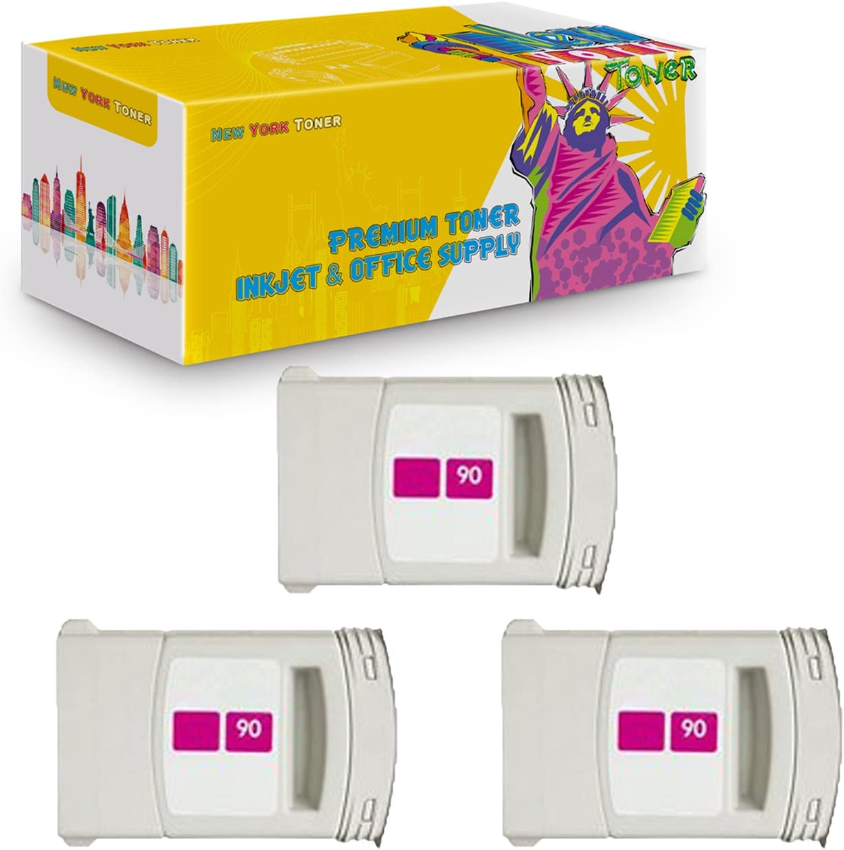 Magenta, 3-Pack NYT Compatible High Yield Inkjet Cartridge Replacement for C5063A #90 for HP DesignJet 4000 4500