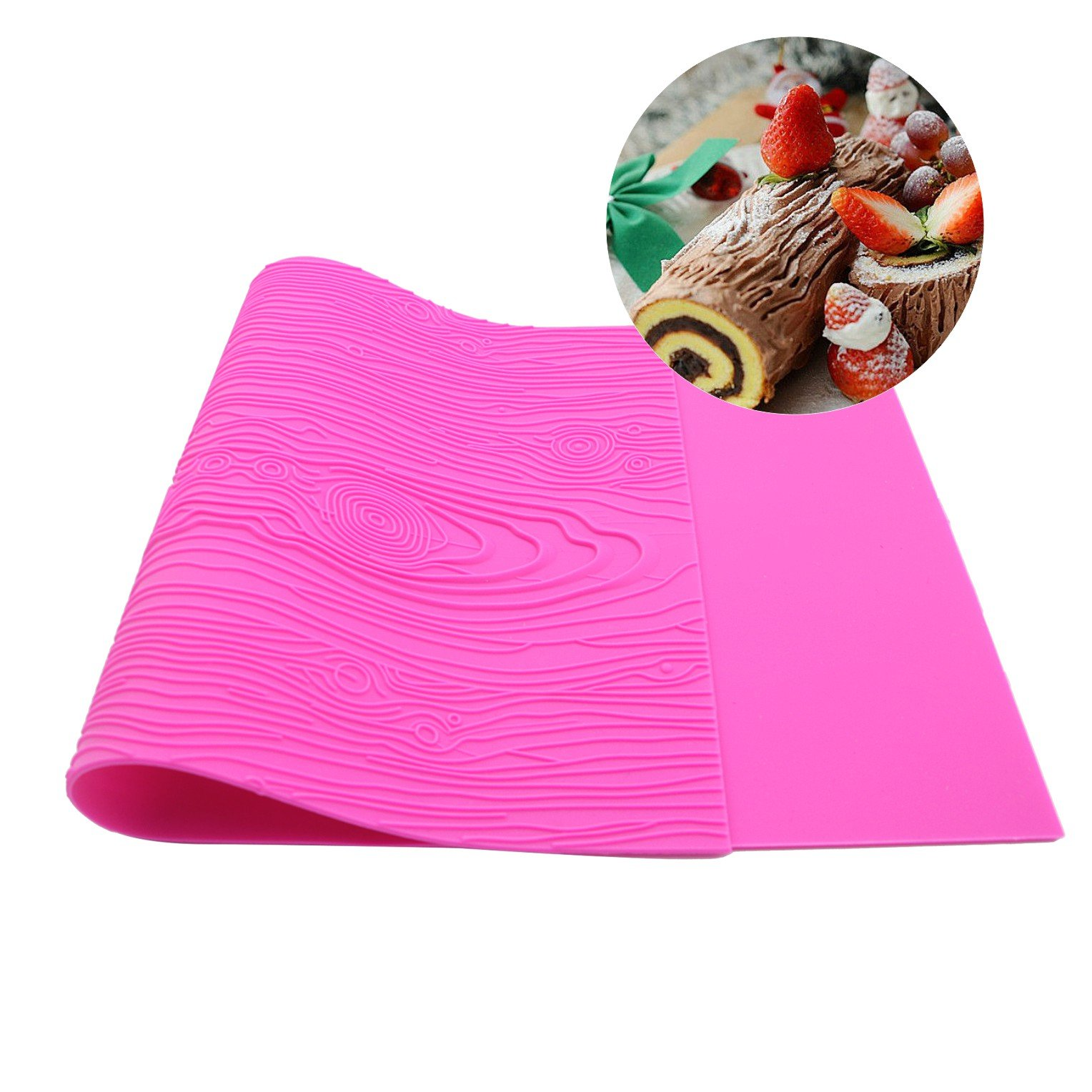 Warmoor Silicone Cake Fondant Mat, Woodgrain Impression Lace Mold (pink)