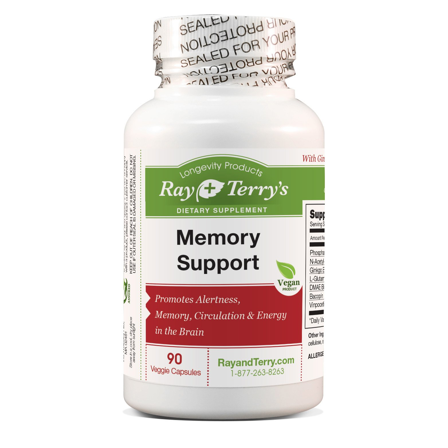 Ray & Terry's Memory Support (90 count) Complex with Vinpocetine, DMAE and Ginkgo for Brain Health, Circulation, Memory and Focus