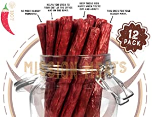 Hoppin' Habanero Grass-Fed Beef Sticks Gluten Free MSG Free Nitrate Nitrite Free Paleo Snacks Keto Healthy Natural Meat Sticks