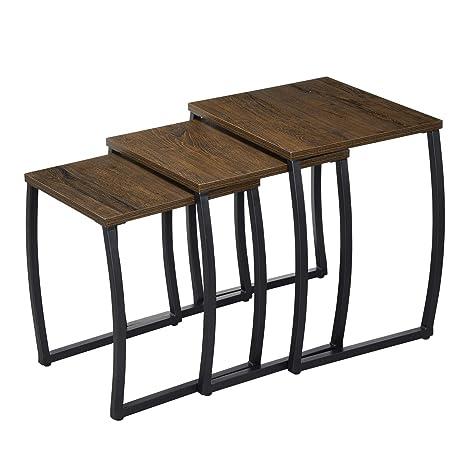 Amazon.com: RooLee - Juego de 3 mesas de café, estilo ...