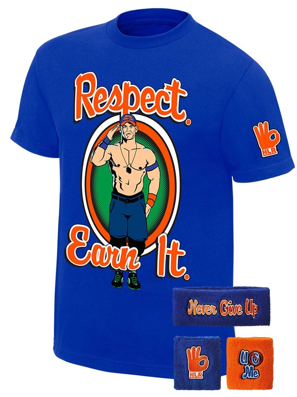 John Cena WWE Respect Earn It T-shirt Headband Wristbands Boys Juvy-YS (6-8)