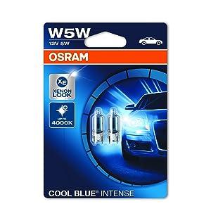 Lámpara halógena COOL BLUE INTENSE W5W de OSRAM, luz de posición y de matrícula, 2825HCBI-02B, automóvil de 12 V, ampolla doble (2 unidades)