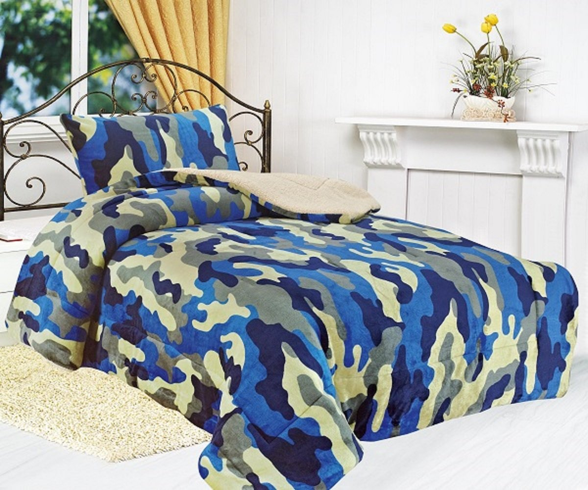 All American Collection New Super Soft and Warm 2 Piece Borrego/Sherpa Blanket Twin Size (Blue Camouflage