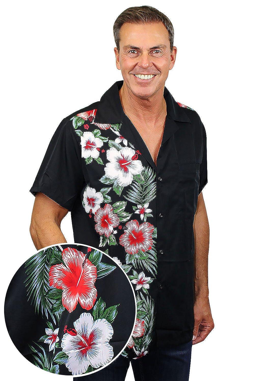 Original King Kameha | Funky Hawaiian Shirt | For Men | XS - 6XL | Short-Sleeve | Front-Pocket | Hawaiian-Print | Wedding Traditional | Black