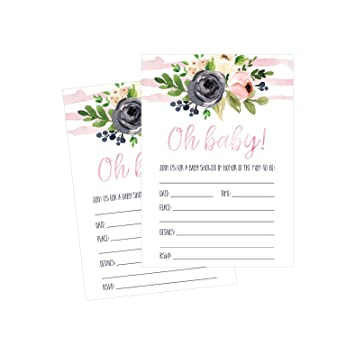 50 Fill In Floral Baby Shower Invitations Watercolor Pink Neutral