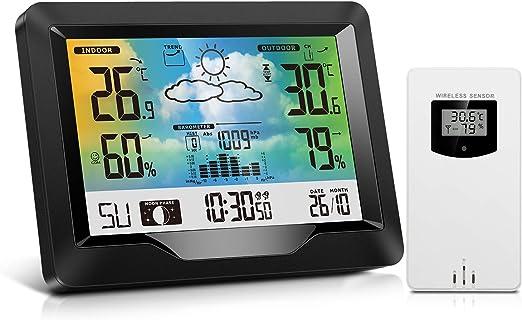 Estación Meteorológica Inalámbrica Interior y Exterior con Sensor Exterior, Monitor de Barómetro de Temperatura de Humedad con Alarmas, Pronóstico del Tiempo, Termómetro e Higrómetro para Hogar: Amazon.es: Jardín