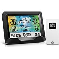 Estación Meteorológica Inalámbrica Interior y Exterior con Sensor Exterior, Monitor de Barómetro de Temperatura de…