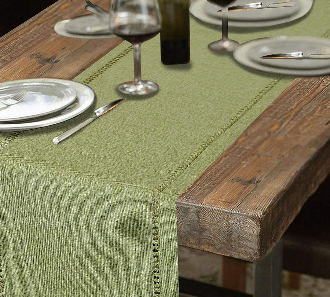 Grelucgo Handcrafted Solid Color Dining Table Runner, Double-Hemstitched (Sage Green, 14 x 90): Home & Kitchen