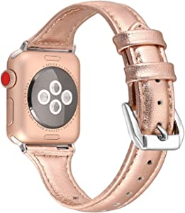 Secbolt Leather Bands Compatible Apple Watch Band 38mm 40mm Iwatch Series 6 5 4 3 2 1 SE Slim Replacement Wristband Strap Stainless Steel Buckle, Rose Gold