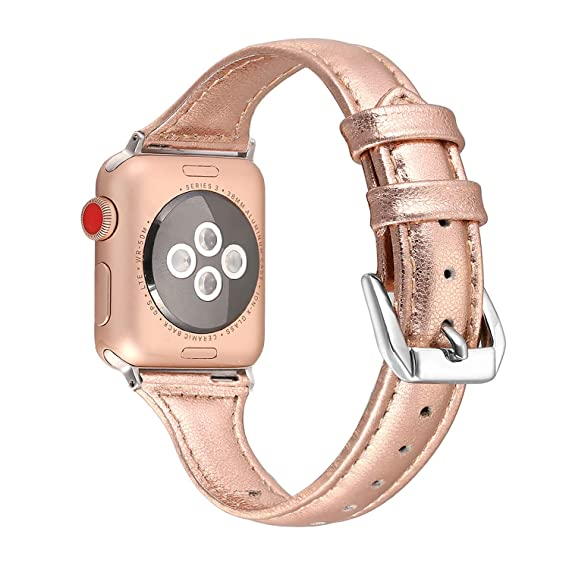bd037b51d2f Secbolt Leather Compatible Apple Watch Band 38mm 40mm Slim Replacement  Wristband Sport Strap for Iwatch Nike+