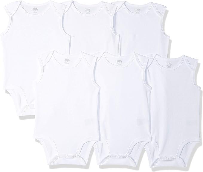 Amazon Essentials - Pack de 6 bodis sin mangas para bebé, Blanco ...