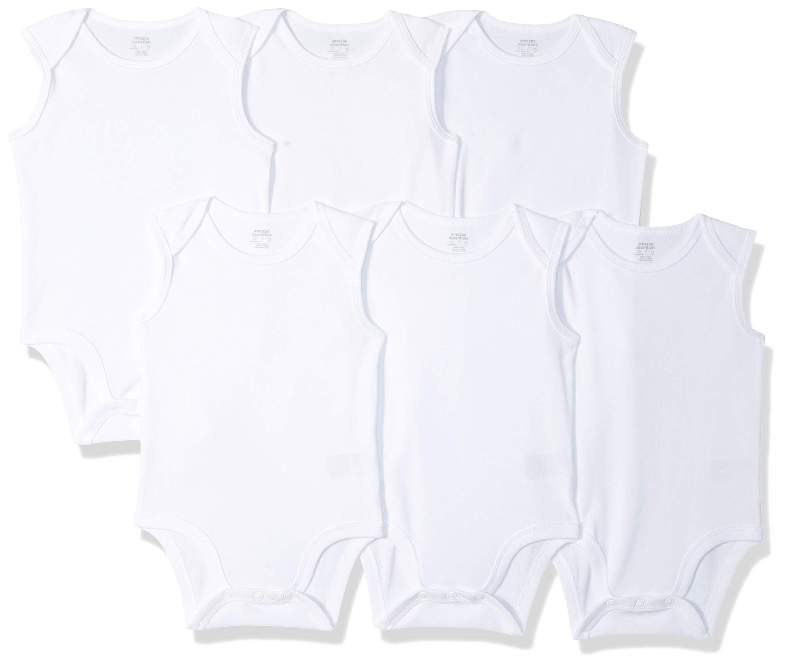 Amazon Essentials Baby 6-Pack Sleeveless Bodysuits, Solid White, 3-6M by Amazon Essentials