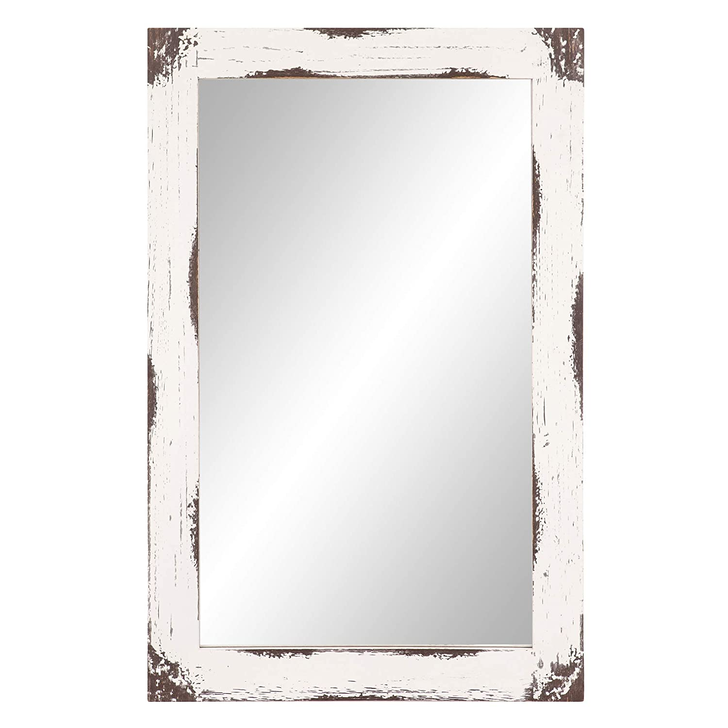24x36 Distressed White Reclaimed Wood Wall Mirror