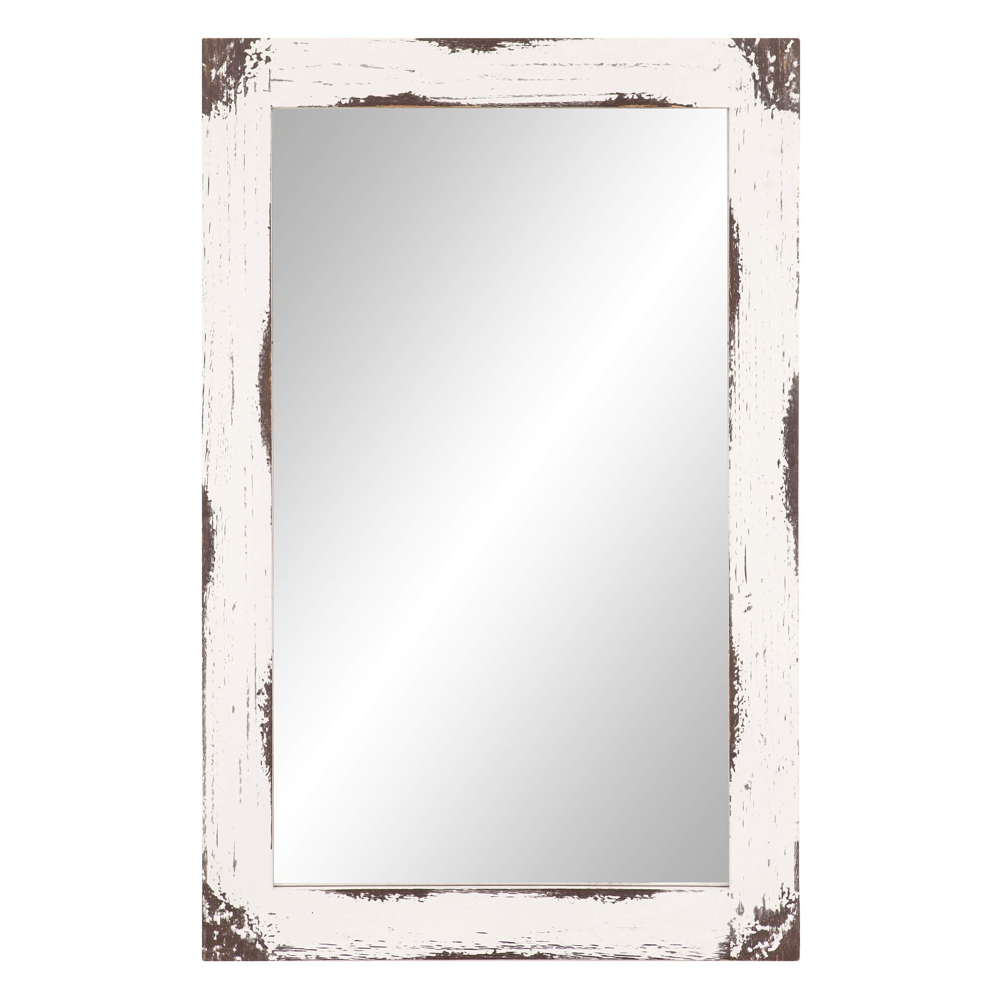24x36 Distressed White Reclaimed Wood Wall Mirror by Patton Wall Decor