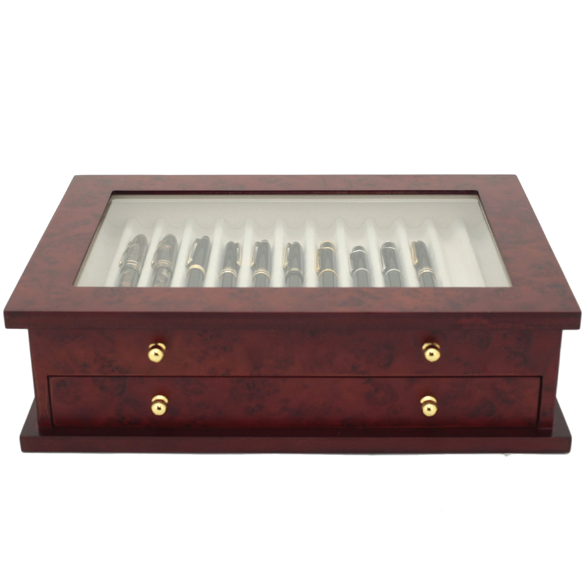 Pen Box 26 Fountain Pens Writing Instruments Wood Constructed Glass Display Case (Burlwood) by Tech Swiss (Image #4)