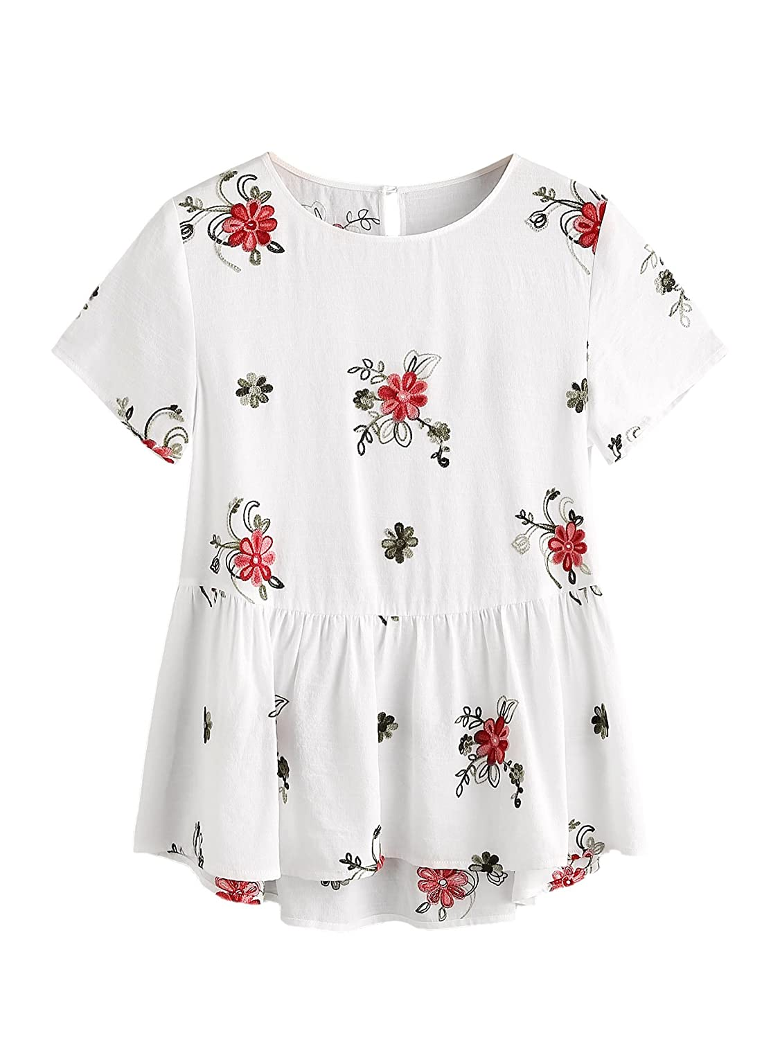 b3be4c6f13 Material: 50% Cotton, 50% Polyester. Fabric has no stretch. Round neck,  high low ruffle hem, back button. Sweet and cute embroidered, great for  school, ...