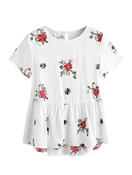 1b92196420d1c SheIn Women s Loose Flower Embroidered Ruffle Hem Keyhole Back Babydoll Top  White X-Small