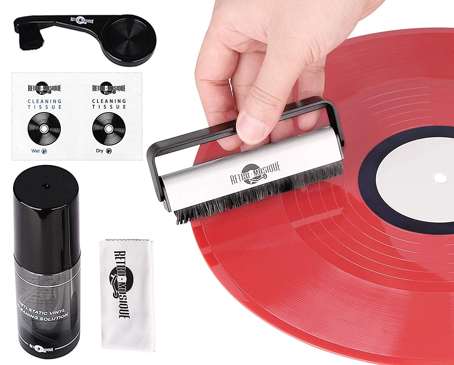 Vinyl Record Cleaning Kit-Record Cleaning Solution, Stylus Cleaner, Carbon and Velvet Brush & Microfiber Cloth-Keep your Vinyl Collection LPs like New