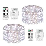Amazon Price History for:LED String Lights Battery Powered, DOMEZAN 2 Set 16.4ft 50 LED Battery Operated Decorative Lights with Remote Control for Indoor, Patio, Bedroom (Silver Wire Lights, Daylight White)