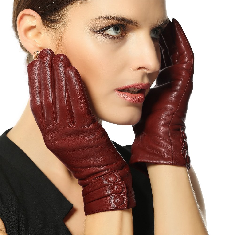 Warmen Women's Touchscreen Texting Driving Winter Warm Nappa Leather Gloves - 7.5 (US Standard size) - Saddle (Touchscreen Function/Cashmere Lining)