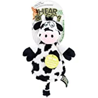 Hear Doggy Flatties with Chew Guard Technology Dog Toy, Cow