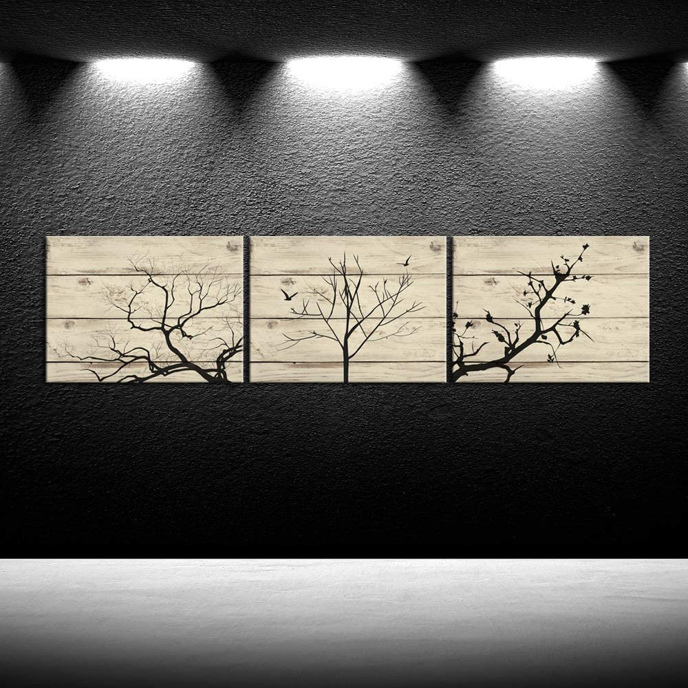 iKNOW FOTO Abstract Tree Canvas Wall Art Black Tree Branch with Leaves on Wood Style Background Gallery Wrap Modern Home Decor Ready to Hang for Kitchen Decors 12x16inchx3pcs