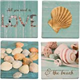 All You Need Is Love and the Beach Seashells 4 Piece Ceramic Coaster Set