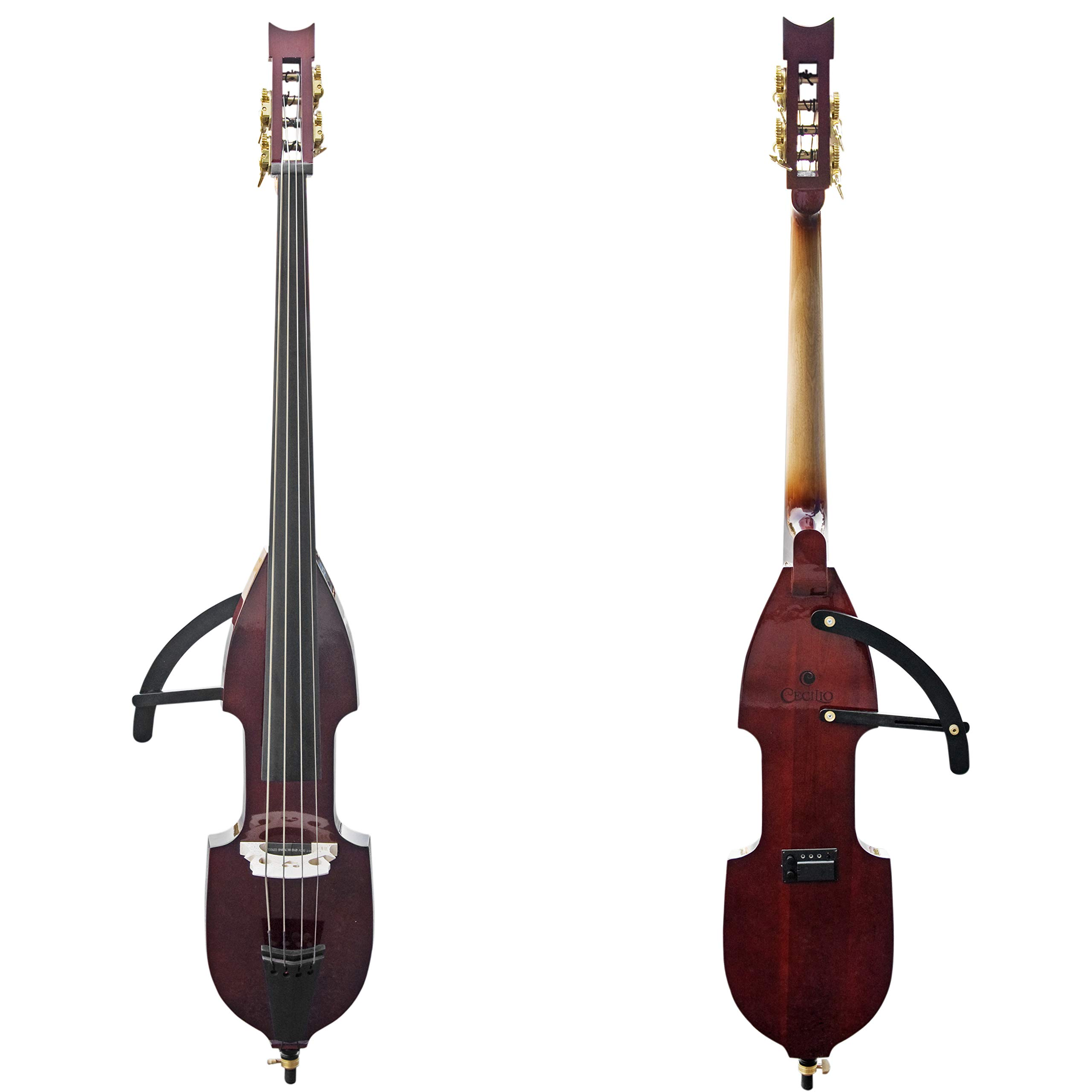 Cecilio Silent Electric Upright Double Bass, Mahogany Metallic, Size 3/4 by Cecilio