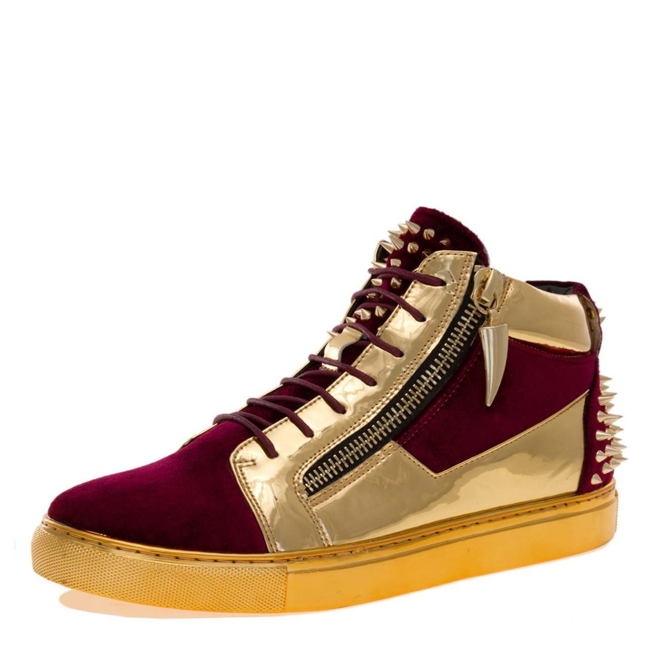 Burgundy Velvet JUMP J75 Men's Zack Round Toe Leather Lace-Up Mid-Top Sneaker