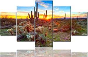 Native American Wall Decor Sonoran Desert near Phoenix, Arizona Paintings Landscape Wall Art 5 Panel Canvas Modern Artwork Home Decorations for Living Room Giclee Framed Ready to Hang(60''Wx32''H)