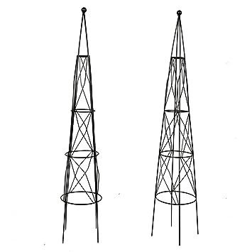 2 Packs Garden Obelisk Metal Trellis Flower Support For Climbing Vines And  Plants, 44.3u0026quot;
