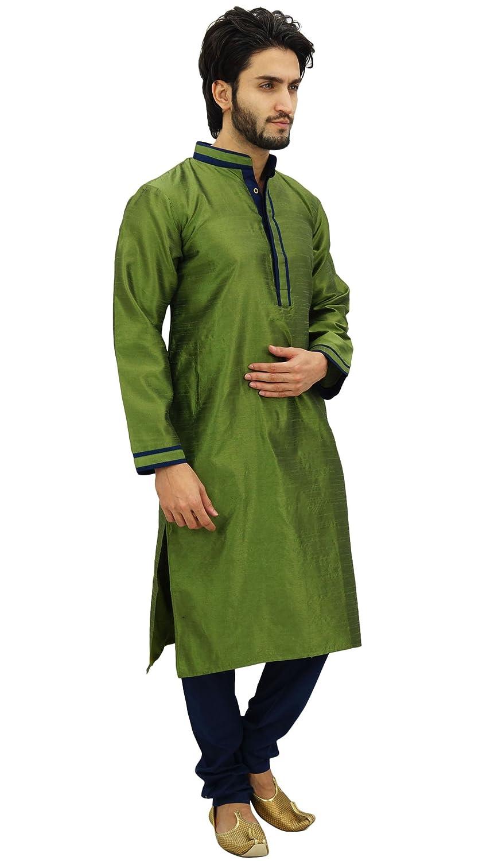 Atasi Mens Kurta Pyjama Set Long Green Casual Bollywood Ethnic Shirt