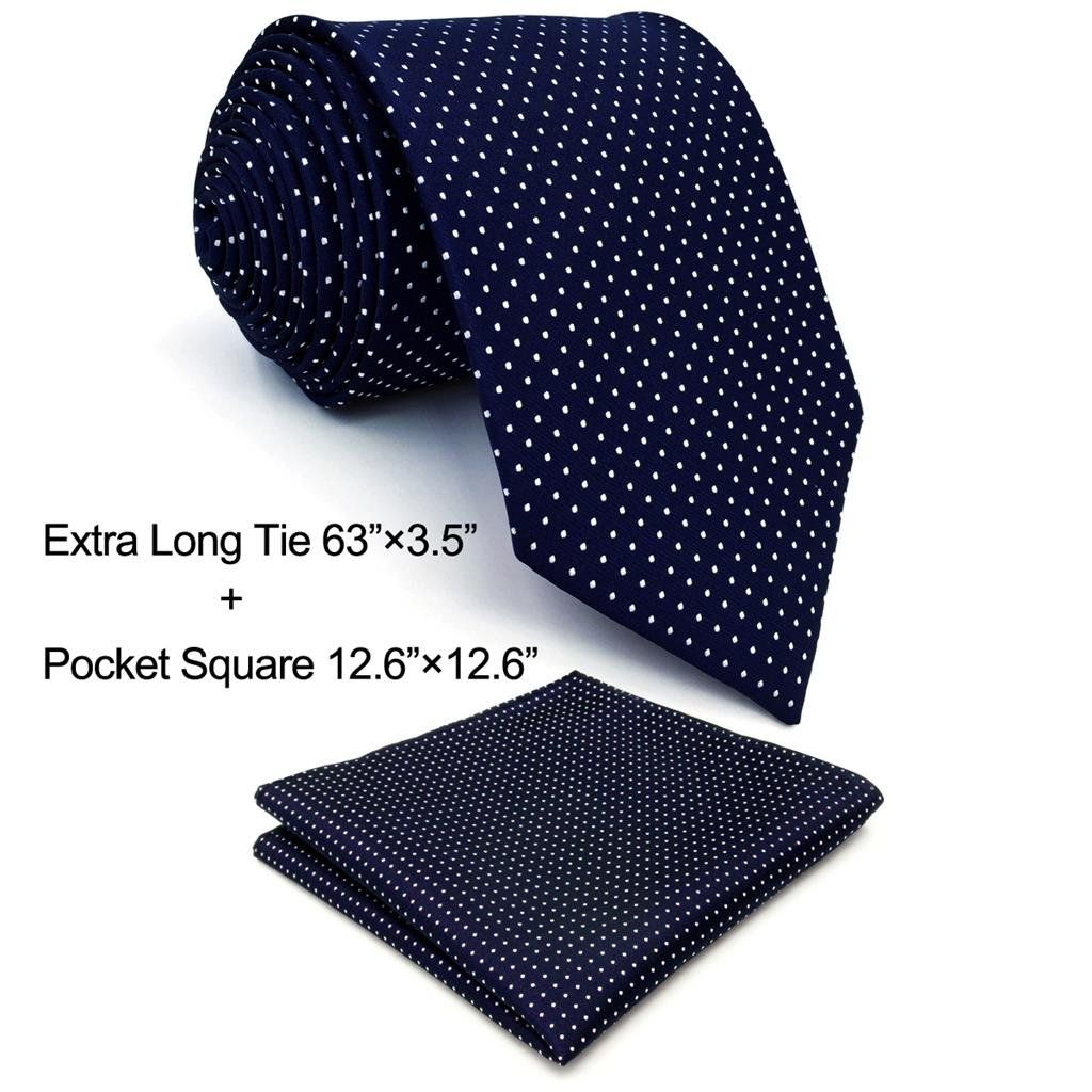 Shlax& Wing Extra Long Size Dots Blue Navy Mens Neckties Ties Silk M6-H