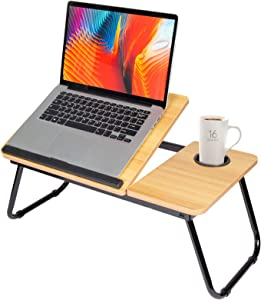 Laptop Bed Desk, Kuropy Adjustable Laptop Tray Table Notebook Stand Reading Holder with Foldable Legs & Cup Slot for Eating Breakfast, Reading Book, Watching Movie on Bed/Couch/Sofa (Brown)