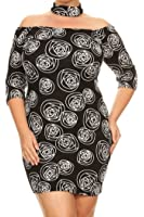 Womens Plus Size Printed, Off The Shoulder Short Dress MADE IN USA