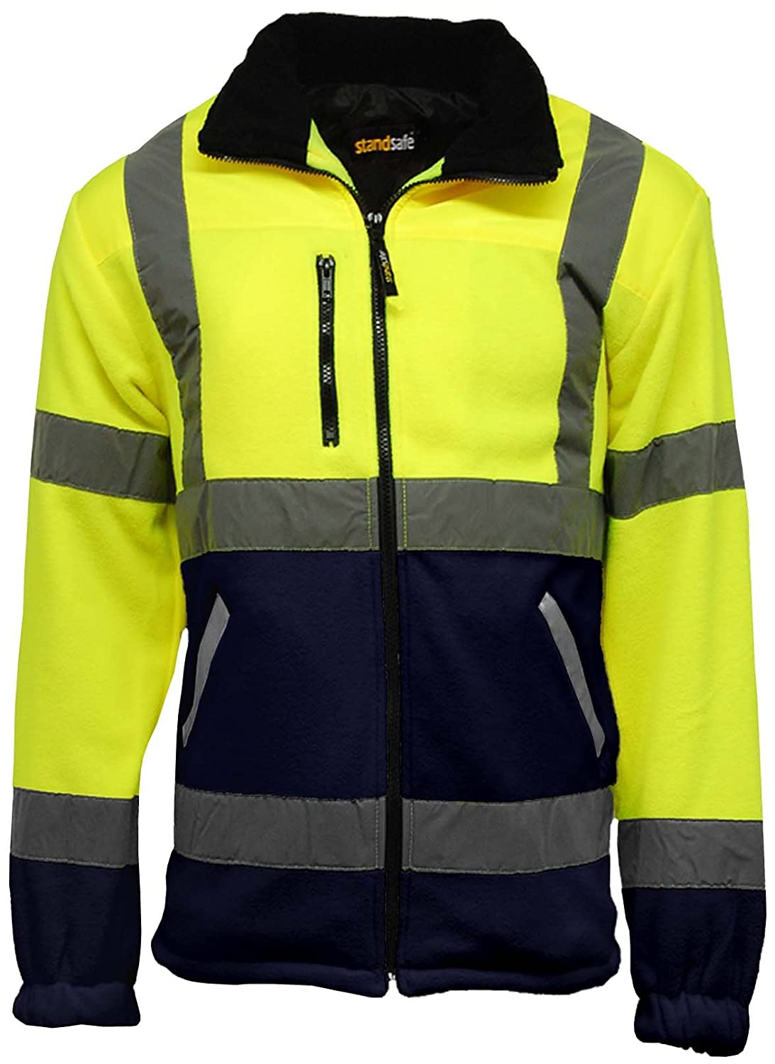 Mens Premium Safety Hi Vis Viz Visibility Lined Work Fleece Jacket StandSafe