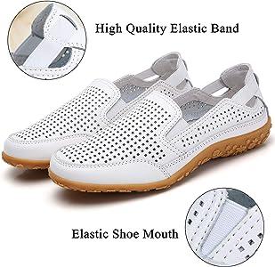 ChayChax Chaussures Plates de Marche Femme Respirant Mocassins en Cuir Perfor/é Baskets Basses