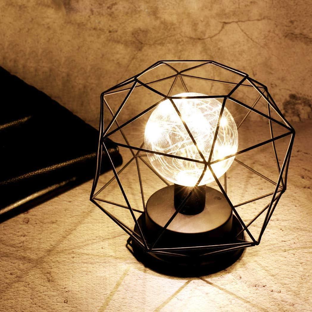 Lampada da tavolo Lampadina,SUAVER Lampada da scrivania in Metallo Lampada da Vintage,Batteria Funzionamento Creativa Decorativo Lampada da Comodino